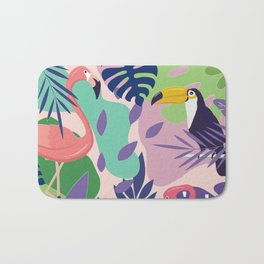 Tropical Jungle With Flamingos And Toucans Memphis Style Bath Mat