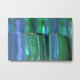 Glass Abstract in Blue and Green Metal Print