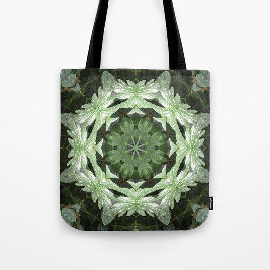 Tropical Twist - Green Leaves Kaleidoscope, Mandala Tote Bag