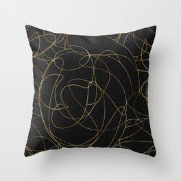 Modern Gold Line Art Gray Dots Abstract Design Throw Pillow