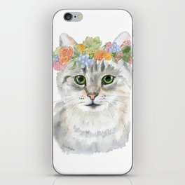 Gray Tabby Cat Floral Wreath Watercolor iPhone Skin