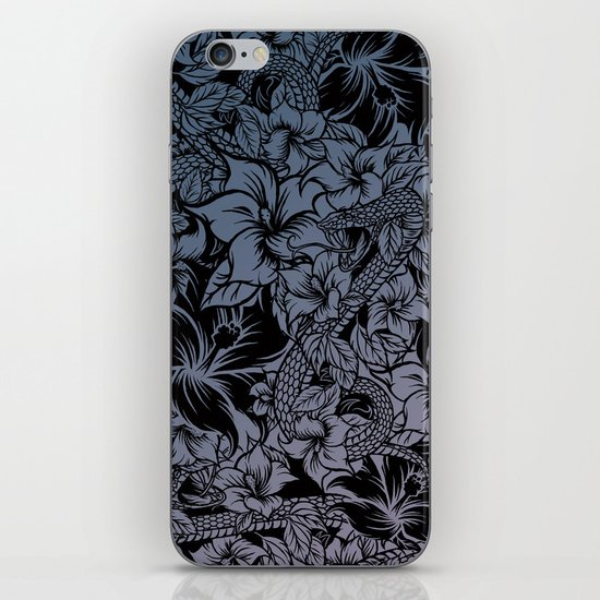Snaky Fleur, Blue Fade iPhone & iPod Skin