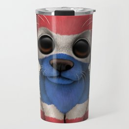 Cute Puppy Dog with flag of Thailand Travel Mug