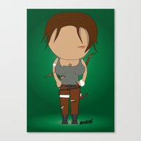 lara croft Canvas Prints featuring Minimalist lara croft by Monkey graphisme