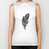 feather Biker Tanks featuring feather by Nastya Bo