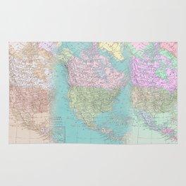 Vintage North America Map Rug
