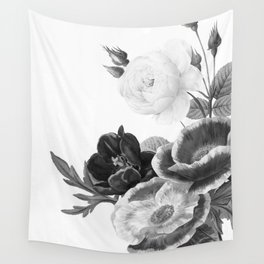 grayscale poenies and roses Wall Tapestry