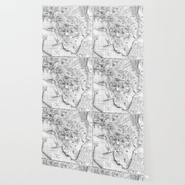 Vintage Map of Genoa Italy (1906) BW Wallpaper