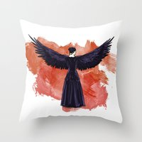 mockingjay Throw Pillows featuring Mockingjay by Cyrilliart