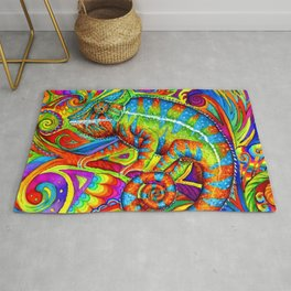 Psychedelizard Colorful Psychedelic Chameleon Rainbow Lizard Rug