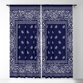 Bandana - Navy Blue - Southwestern - Paisley  Blackout Curtain