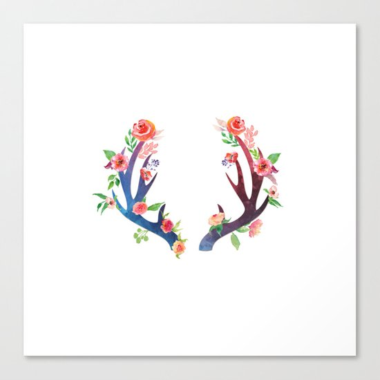 Roses and Antler - Floral flowers  watercolor Illustration Canvas Print