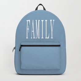 Family word on placid blue background Backpack