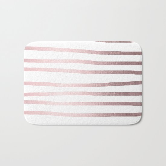 Simply Drawn Stripes Rose Gold Palace Bath Mat