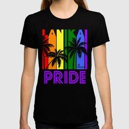 Lanikai Beach Pride Gay Pride LGBTQ Rainbow Palm Trees T-shirt