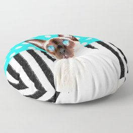 Siamese Cat Polka Teal Floor Pillow