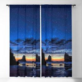 Night at Motukiekie Beach Pano In Greymouth West Coast New Zealand By OLena Art Blackout Curtain