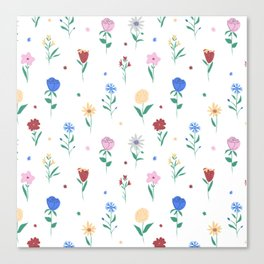 Floral Textile Design on white ground Canvas Print