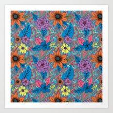 70s floral Art Print