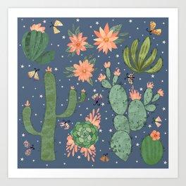 Succulents in Blue Art Print