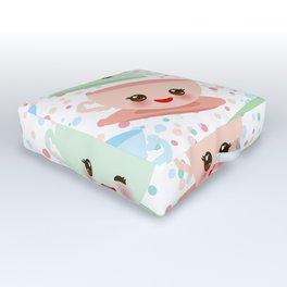 Cute blue pink green Kawai cup, coffee tea with pink cheeks and winking eyes, polka dot background Outdoor Floor Cushion