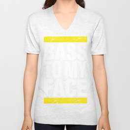 Bass To My Face (yellow/white) Unisex V-Neck