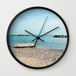 AFE White Boat, Beach Photography Wall Clock