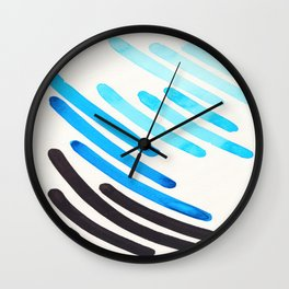 Cerulean Blue Watercolor Colorful Stripes Mid Century Modern Art Primitive Abstract Art Wall Clock