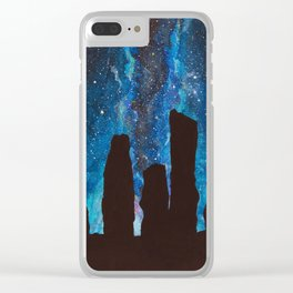 Outlander Craigh Na Dun Standing Stones Watercolor Painting with milky way galaxy Clear iPhone Case