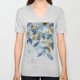 Blue and Gold watercolor leaves painting Unisex V-Neck