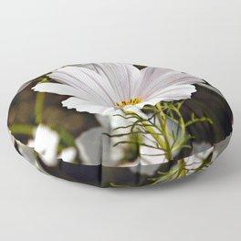White Cosmo Daisies Flowers Floor Pillow