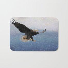 Snowy Flight - Bald Eagle Bath Mat
