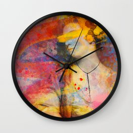 Classical Joshua Reynolds Portrait Pop Art Abstract Remix Wall Clock