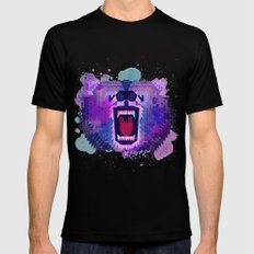 Lilac Geometric Bear  MEDIUM Black Mens Fitted Tee