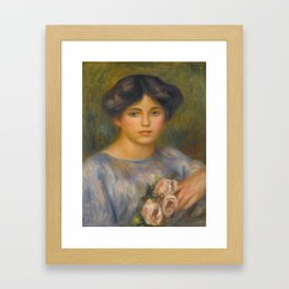 "Auguste Renoir ""Jeune fille aux roses (Young girl with flowers)"" Framed Art Print"