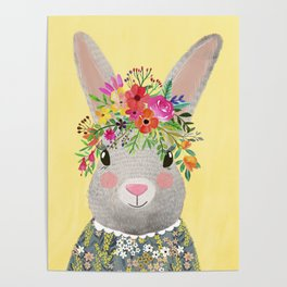 Rabbit with floral crown Poster