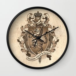 Tiger Coat Of Arms Heraldry Wall Clock