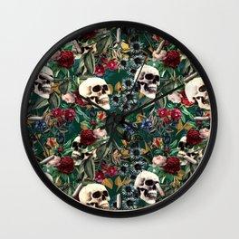 Flowers and Skulls (Green) Wall Clock