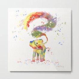 Colorful Happy Elephant Metal Print
