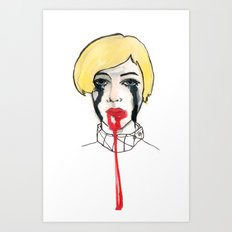 Pain - the look when you are mentally stress out - to death. Art Print