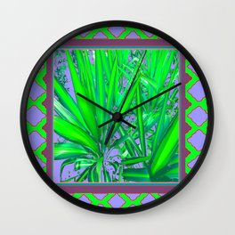 Lilac-Puce-Green Tropical Green Patterned Cacti Art Wall Clock