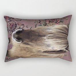 Icelandic pony with rosy posies Rectangular Pillow