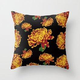 Floral Theme- Chrysanthemum Watercolor Painting Throw Pillow