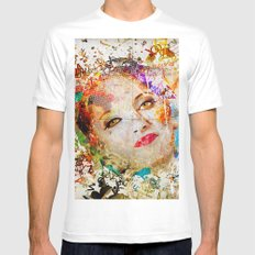 Retro Woman MEDIUM Mens Fitted Tee White