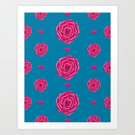 Rose Pattern | Pink Roses | Roses and Hearts Art Print