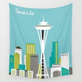 Seattle, Washington - Skyline Illustration by Loose Petals Wall Tapestry