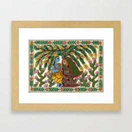 Radha Krishna Madhubani Framed Art Print