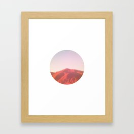 Mountain range photography in dark red, yellow and pink Framed Art Print