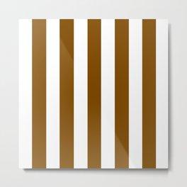 Dark bronze brown - solid color - white vertical lines pattern Metal Print