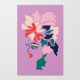 Face in Florals Canvas Print